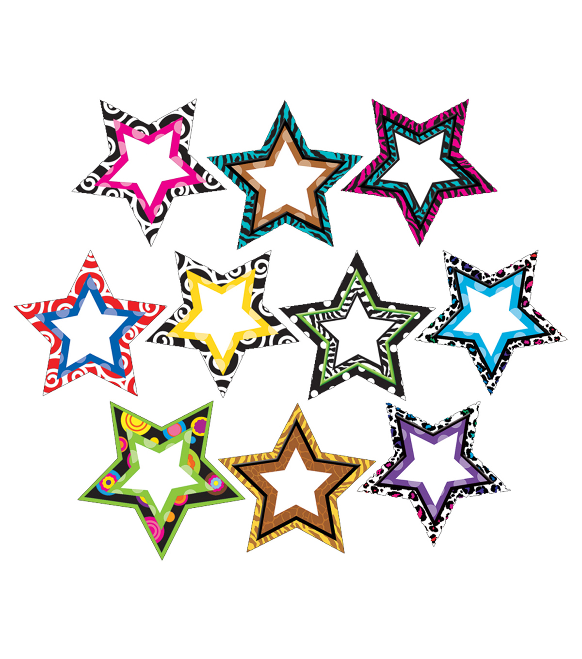 Fancy Stars Accents 30/pk, Set Of 6 Packs