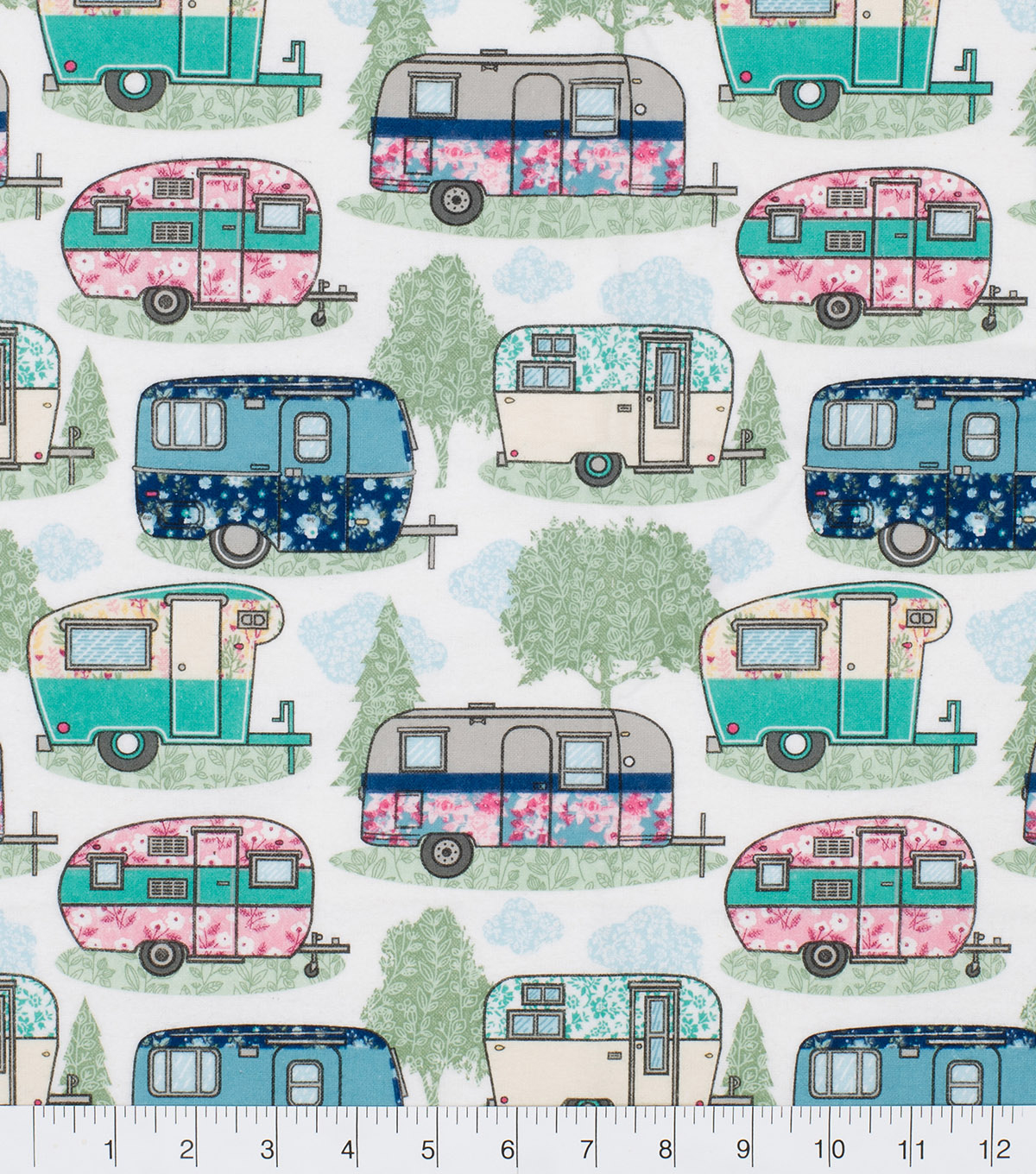 Super Snuggle Flannel Fabric-Floral Campers And Pines