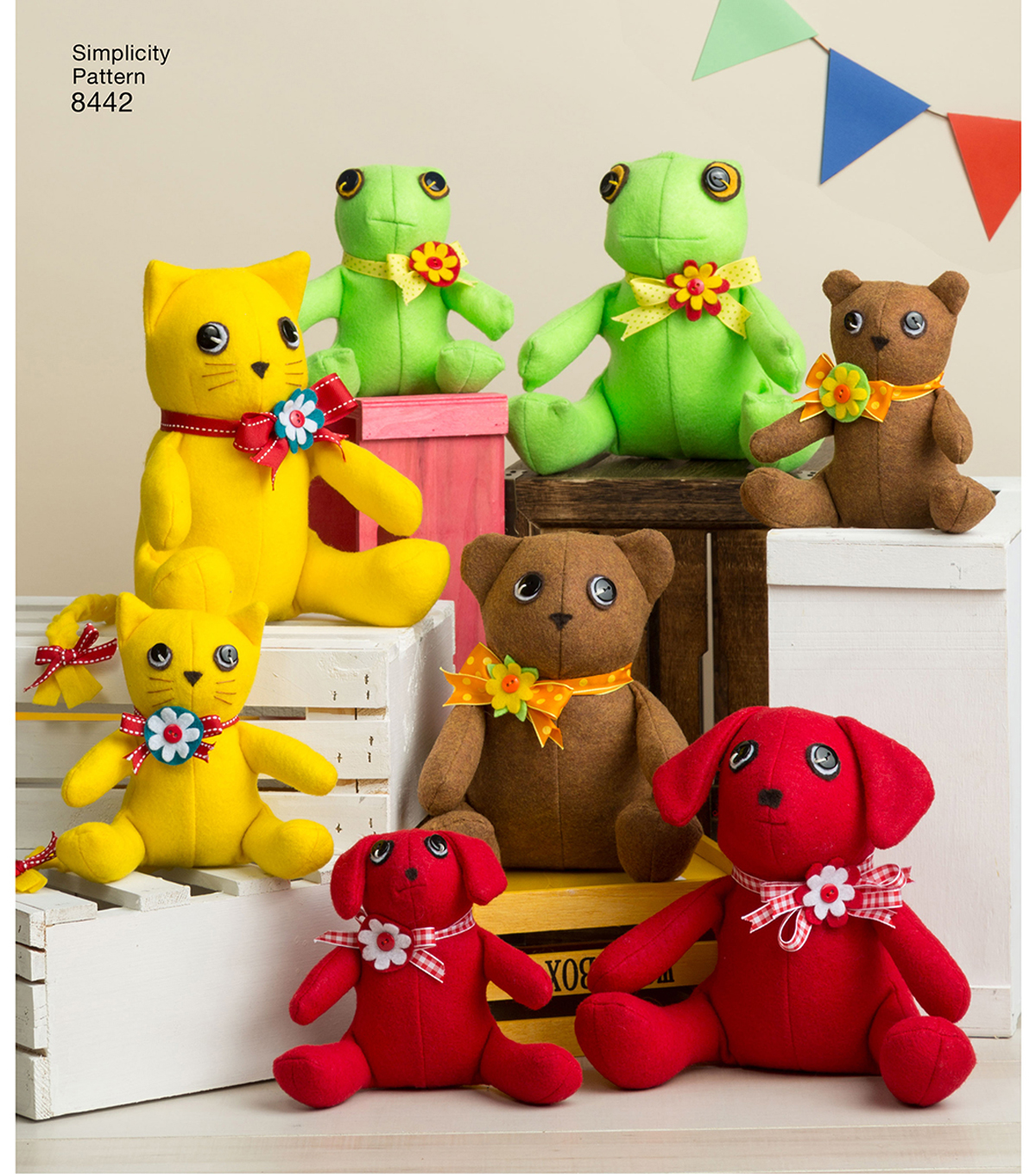 Simplicity Pattern 8442 Felt Stuffed Animals in Two Sizes