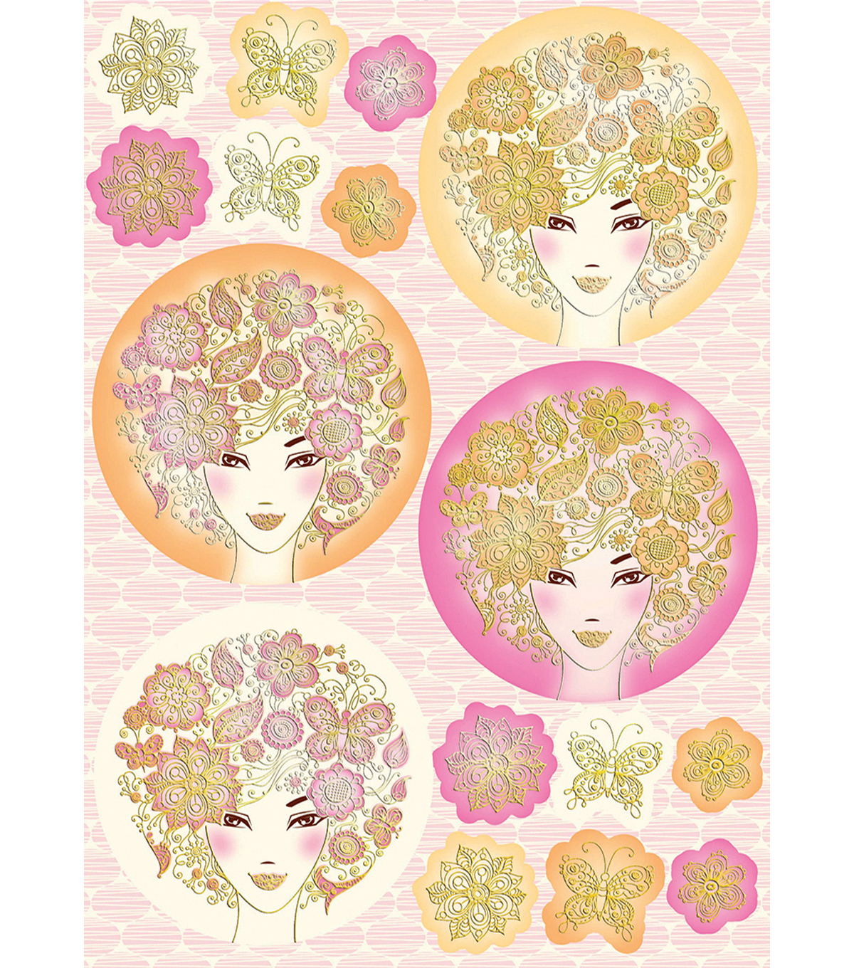 Kanban Crafts Bella Die-Cut Punch-Out Sheet 8\u0022X12\u0022-Ladies Pink