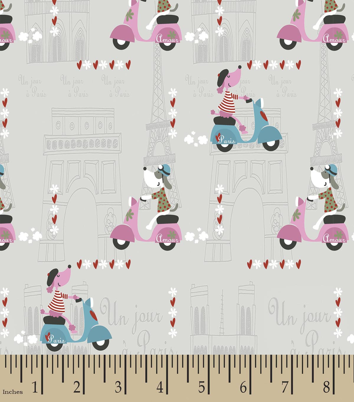 Amour Dog in Paris Print Fabric