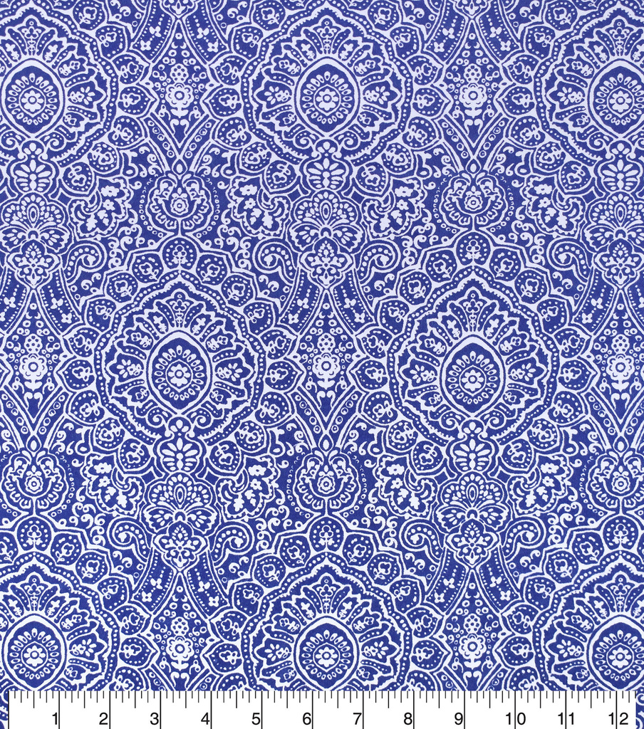 Snuggle Flannel Fabric -Blue Ink Stamp Print