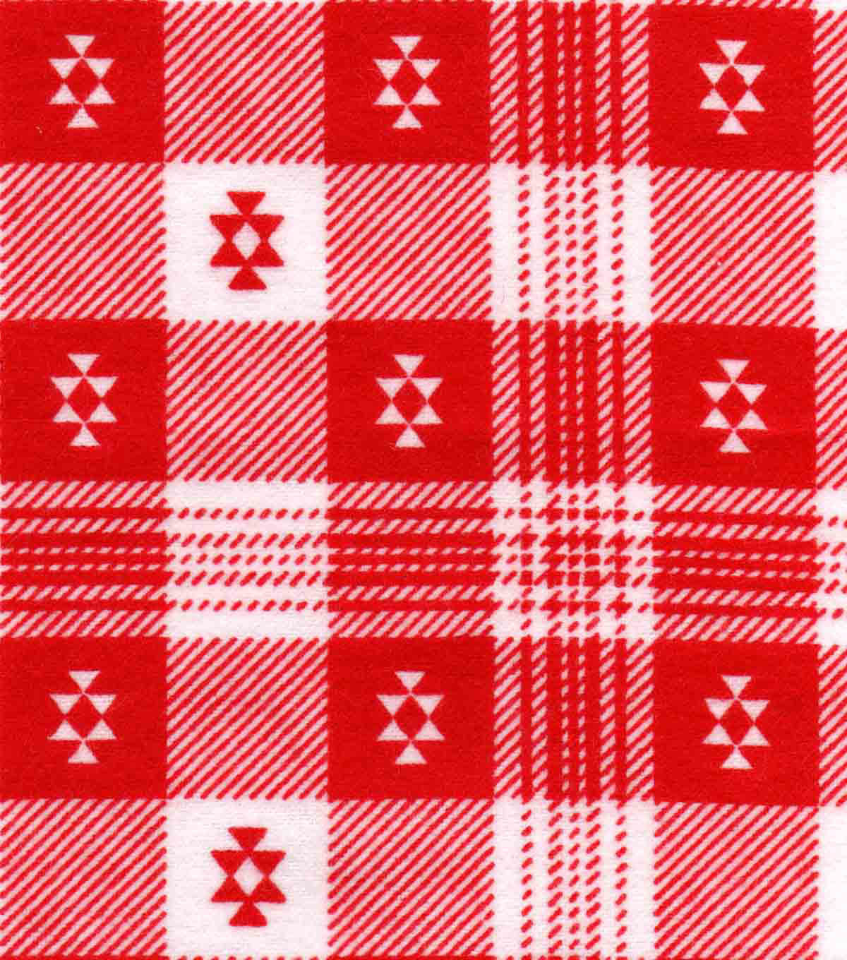Snuggle Flannel Fabric 42\u0022-Aztec Plaid Red
