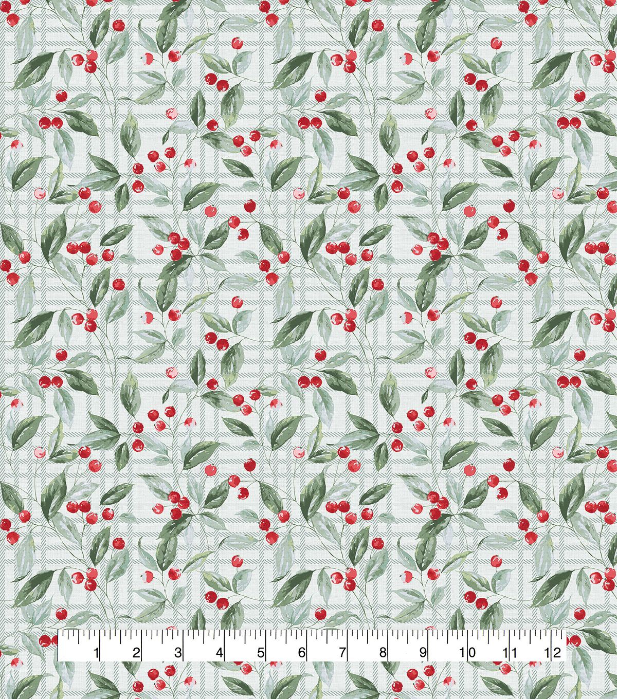 Christmas Cotton Fabric-Plaid Berries & Leaves