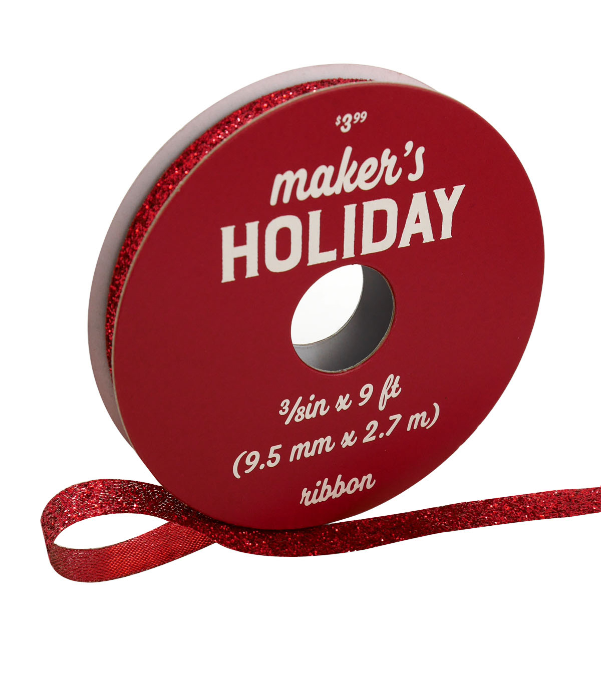 Maker\u0027s Holiday Christmas Whimsy Workshop Glitter Ribbon 3/8\u0027\u0027x9\u0027-Red