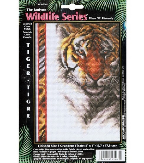 Janlynn Counted Cross Stitch Kit Tiger Wildlife