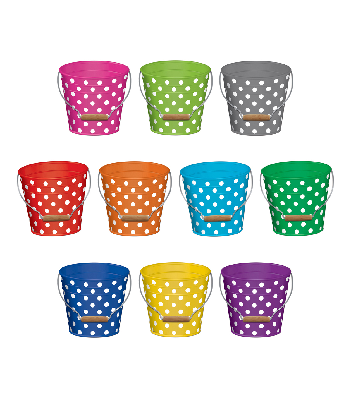 Teacher Created Resources Polka Dots Buckets Accents, 30/Pack, 3 Packs