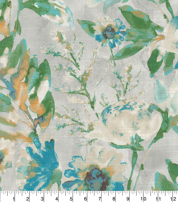 Kelly Ripa Home Upholstery Décor Fabric-Flower Mania Seaglass