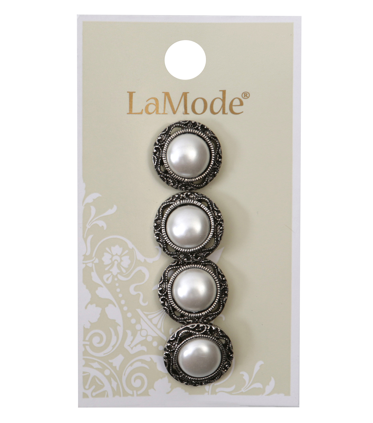 La Mode 4 pk 0.63\u0027\u0027 Silver Shank Buttons with White Pearl