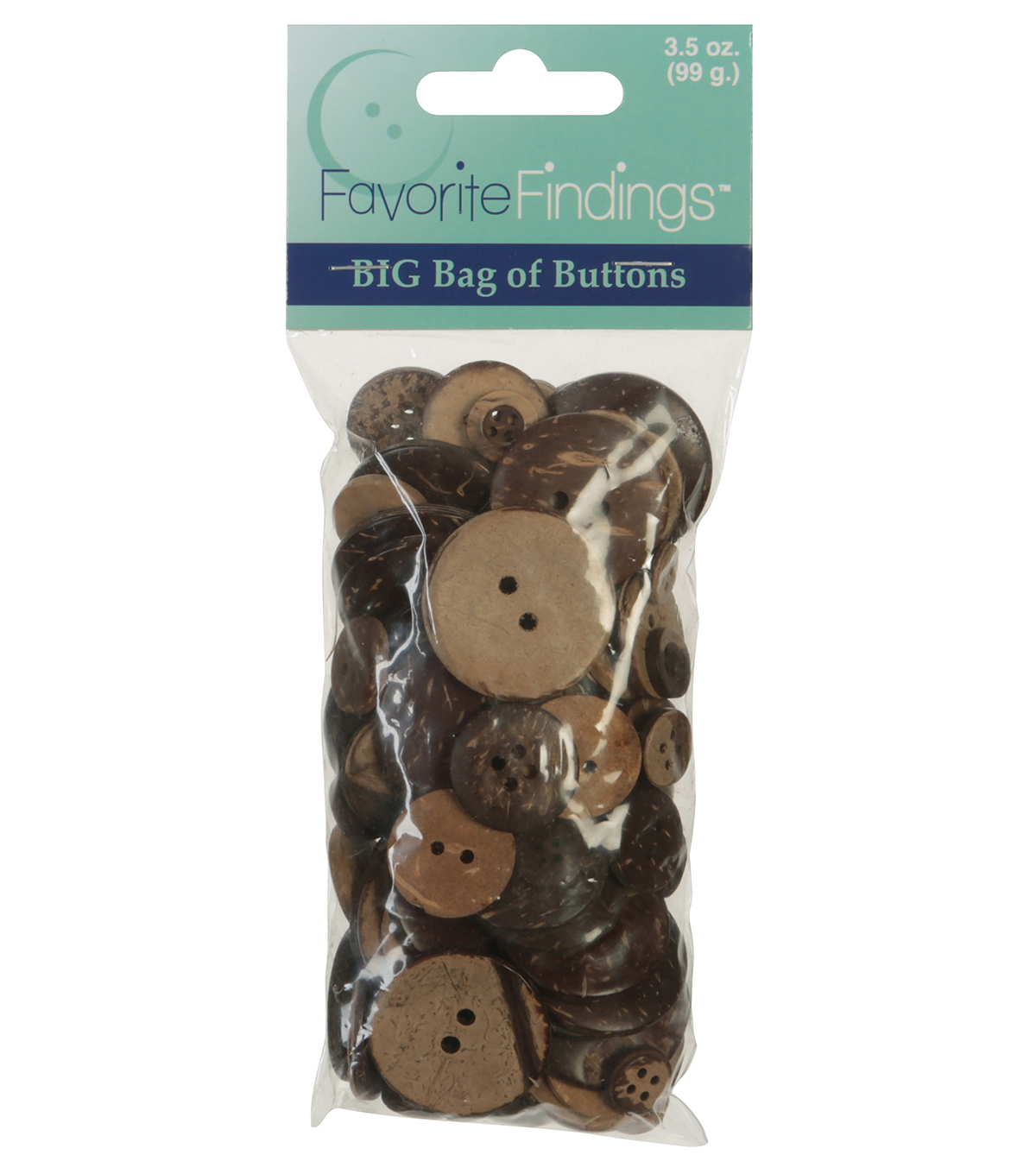 Favorite Findings 3.5oz Value Pack Buttons-Coconut Brown