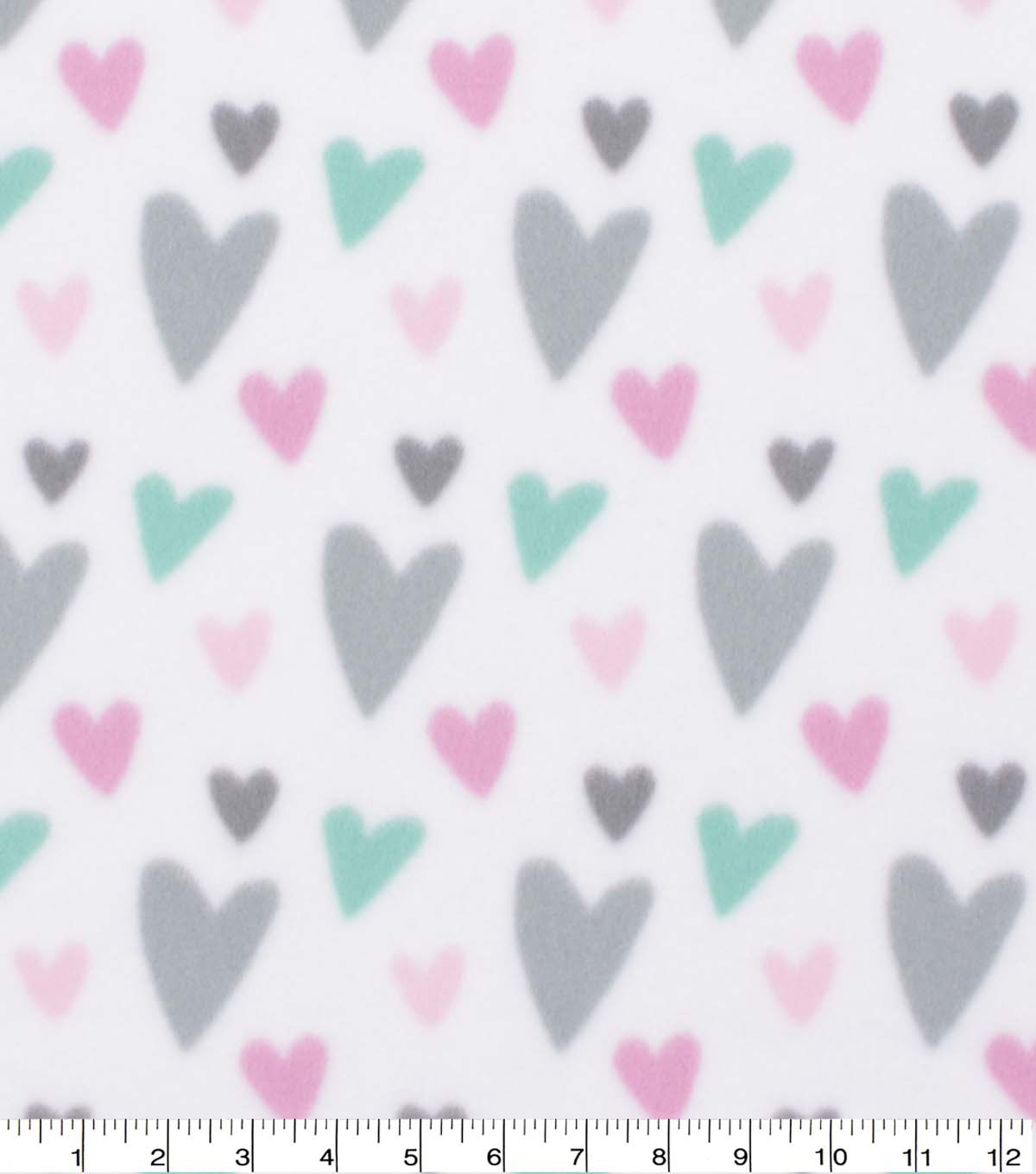 Blizzard Fleece Fabric-Mint & Pink Mini Sketched Hearts