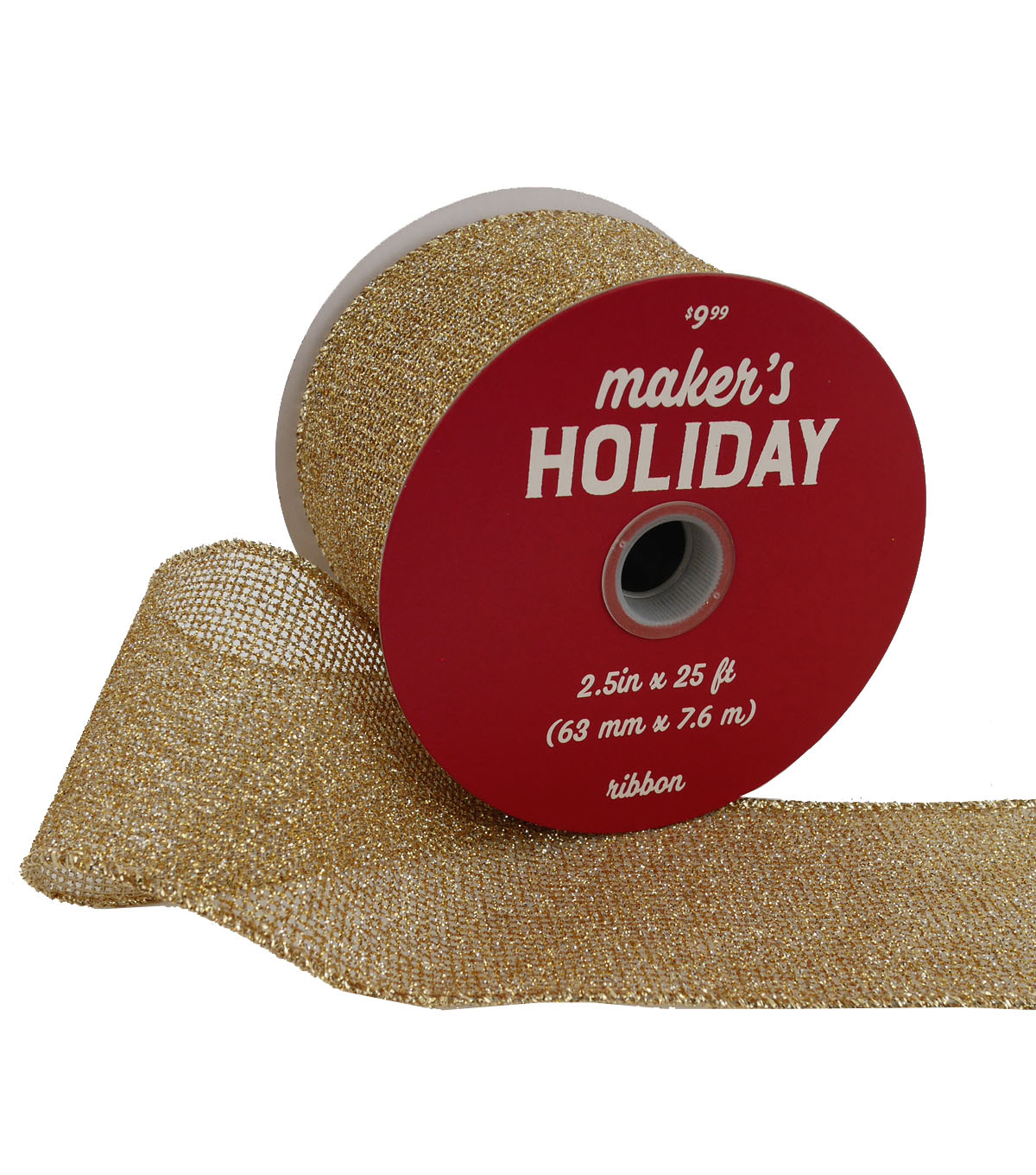 Maker\u0027s Holiday Christmas Metallic Mesh Ribbon 2.5\u0027\u0027x25\u0027-Gold