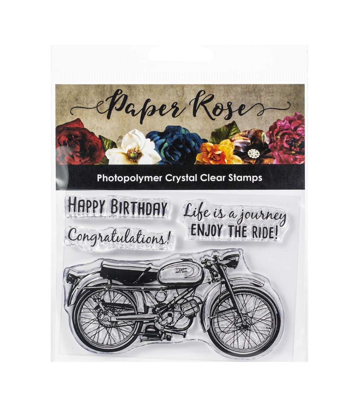 Paper Rose Clear Stamps 3\u0022X4\u0022-Vintage Motorcycle