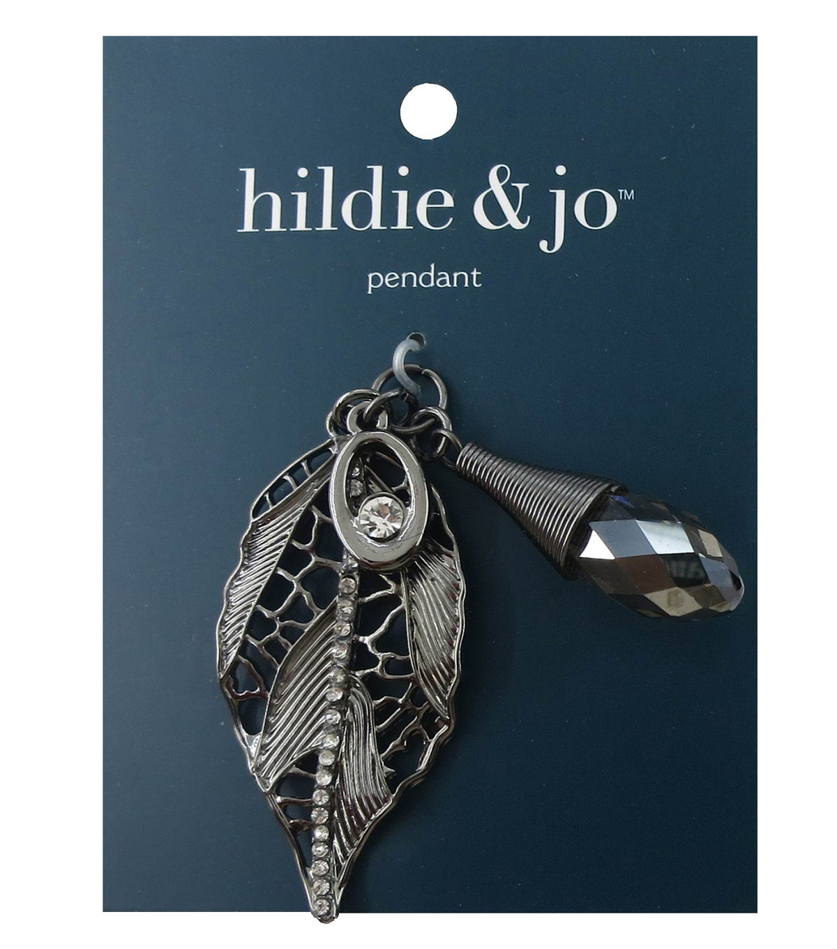 hildie & jo Antique Leaf & Crystal Pendant-Silver