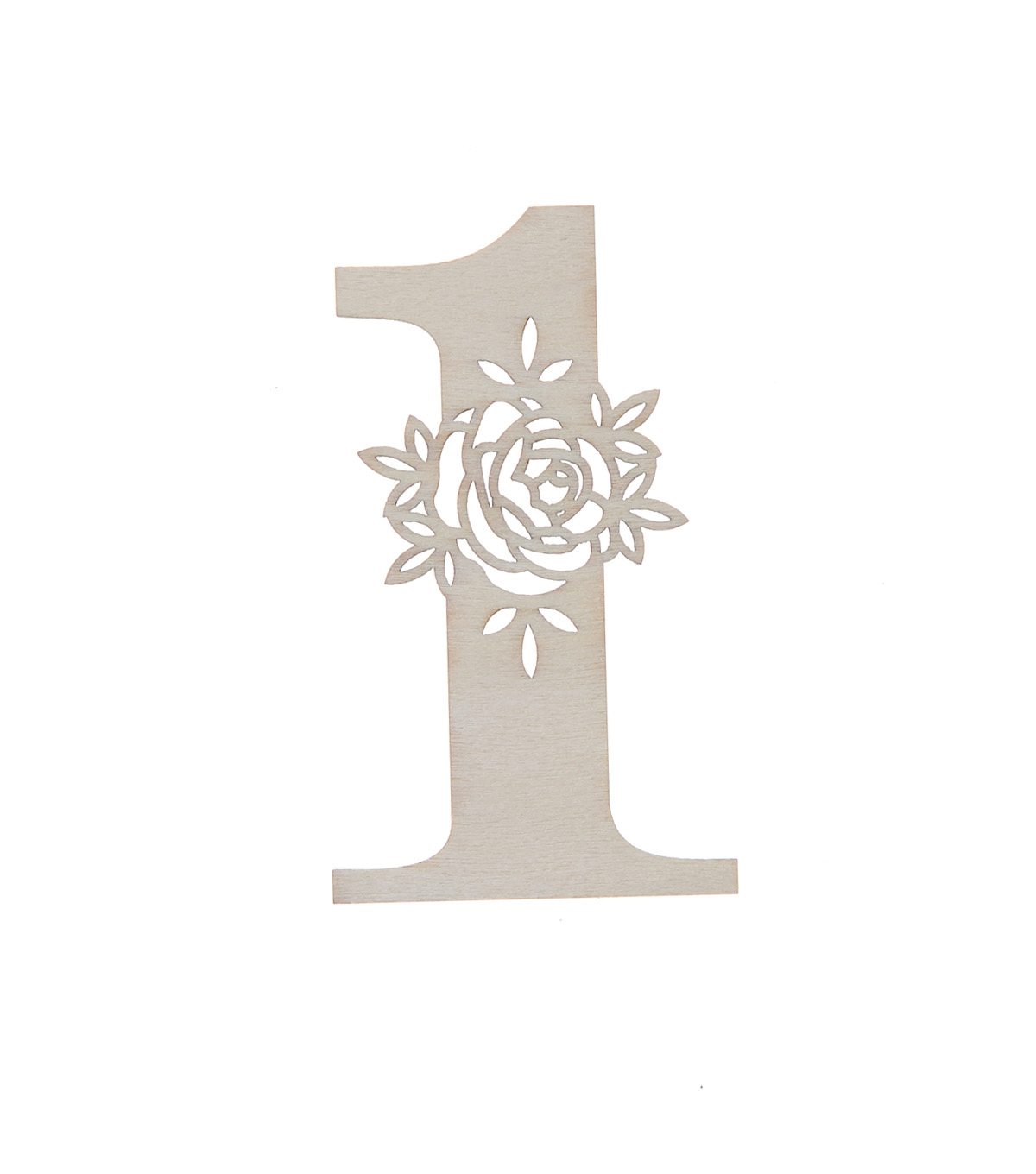 Simply Spring 3\u0027\u0027x3\u0027\u0027 Unfinished Wood Number with Floral, 1