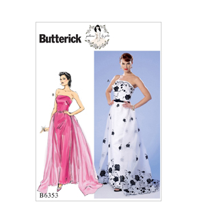 Butterick Pattern B6353 Misses\u0027 Dress, Train & Belt-Size 14-16-18-20-22