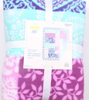 No Sew Fleece Throw 72\u0022-Purple Teal Patchwork