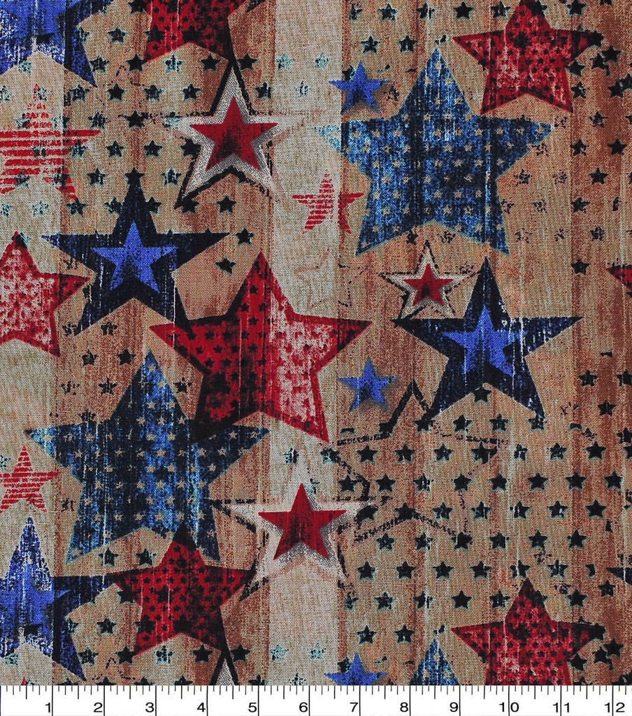 Patriotic Fabric 43\u0027\u0027-Stars on Wood Planks