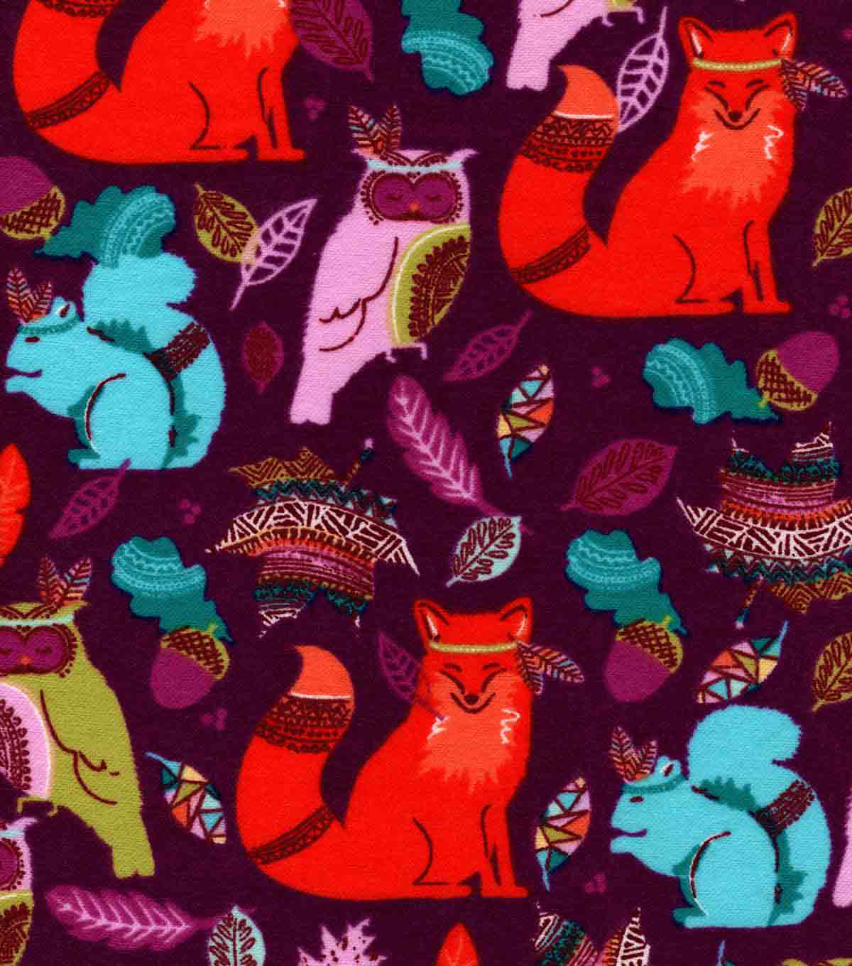 Snuggle Flannel Fabric -Bright Tribal Animals
