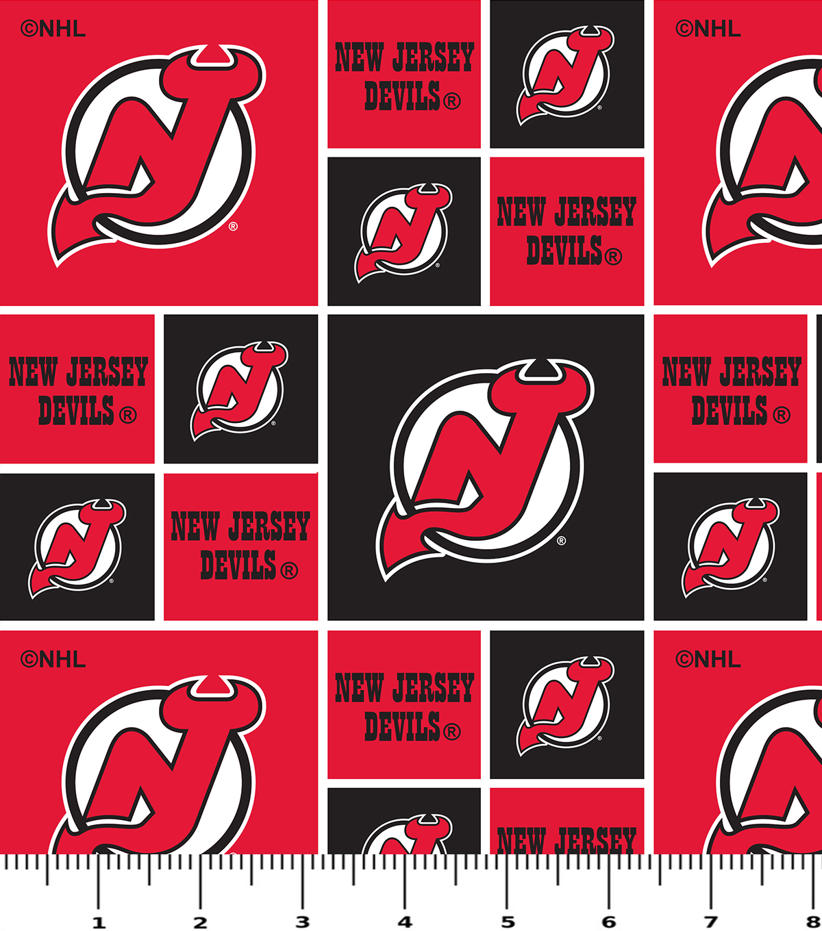 New Jersey Devils Cotton Fabric -Block