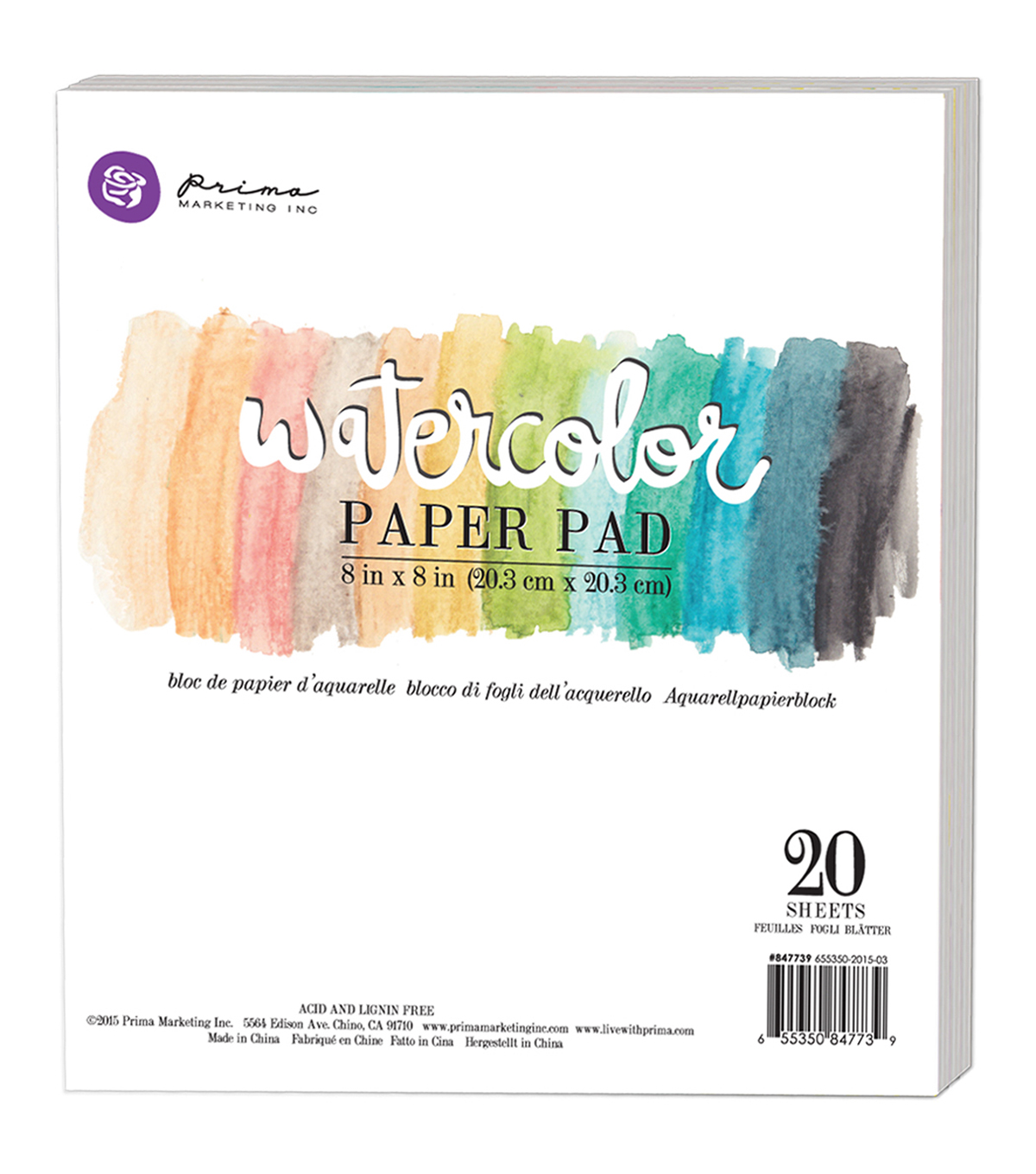Prima Marketing 20ct 8\u0027\u0027x8\u0027\u0027 Watercolor Cold Press Paper Pad