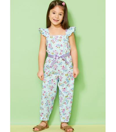 Kwik Sew Pattern K0233 Girls\' Ruffled Jumpsuit, Romper & Sash-Size ...