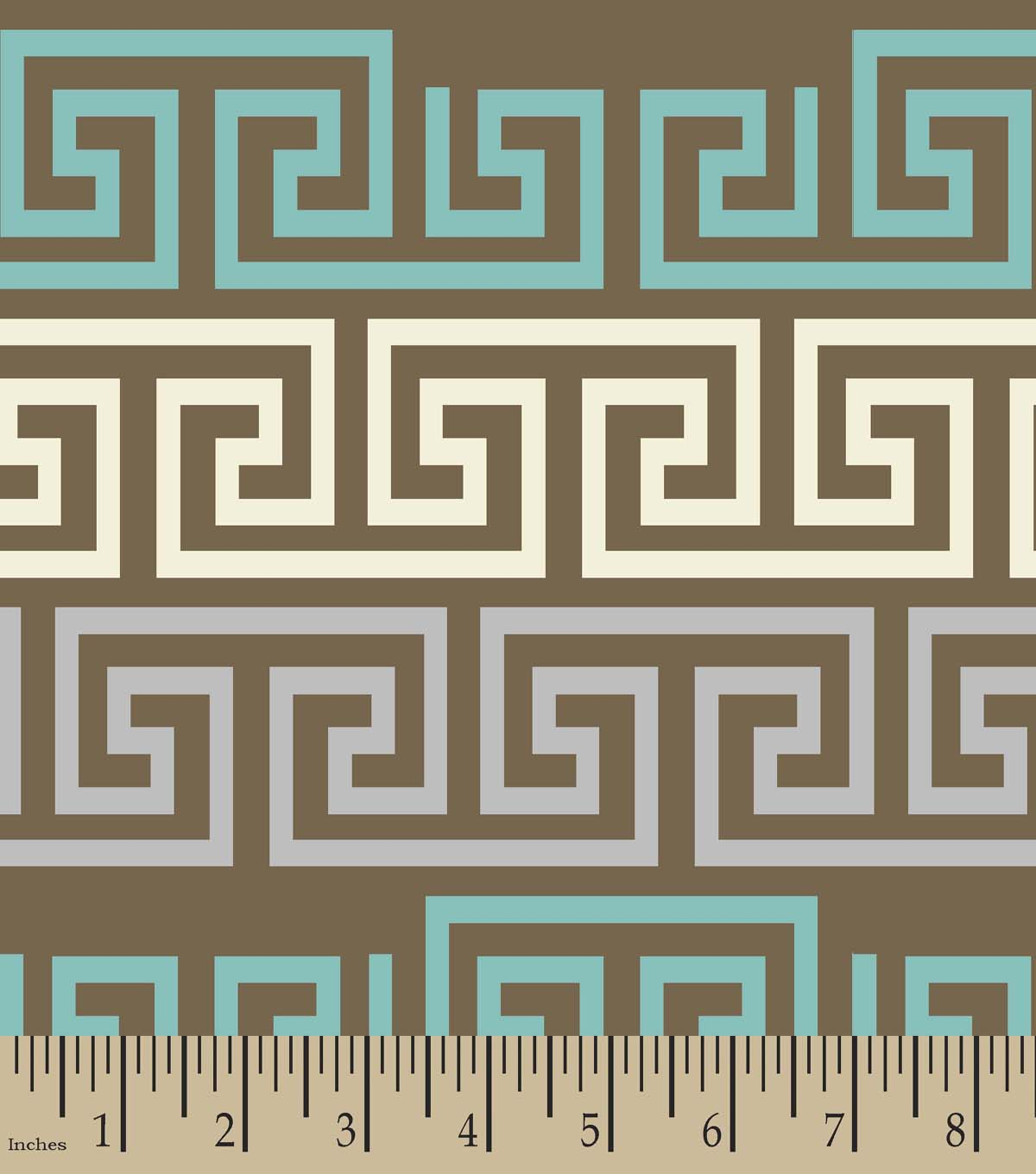 Brown Fretwork Print Fabric