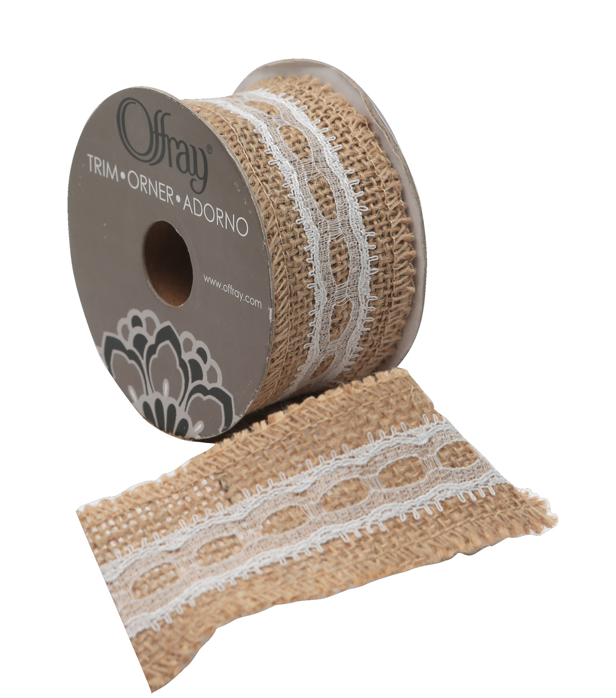 1.5\u0022x9\u0027 Natural Burlap Ribbon With Lace
