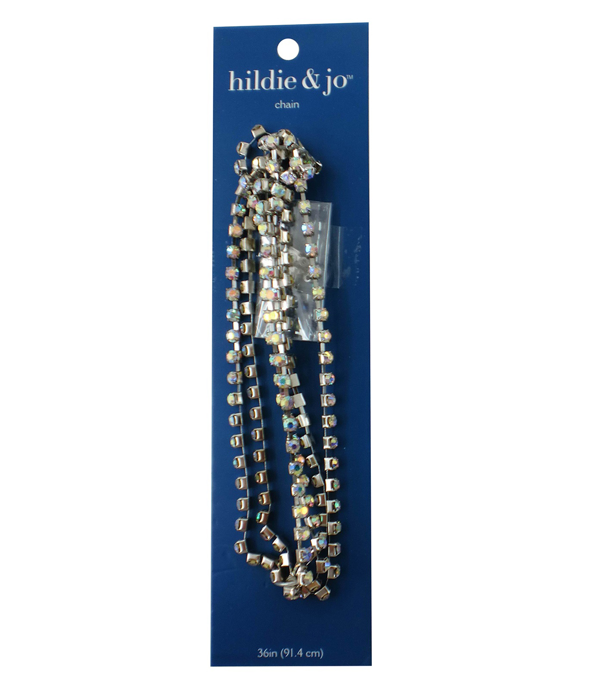 Blue Moon Beads Chain, Box with Rhinestones, 4mm, Silver with AB Stones