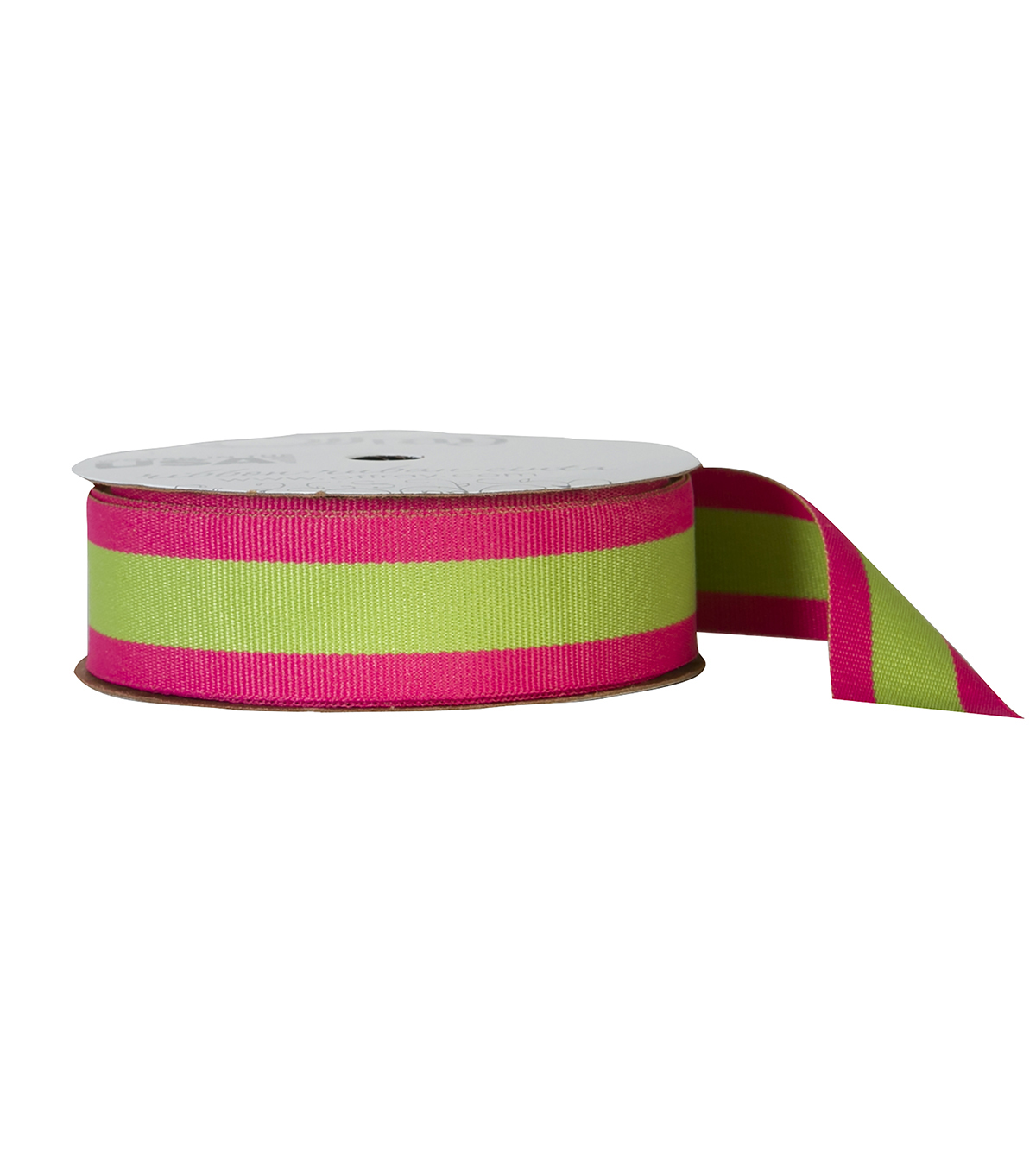 Offray 7/8\u0022x9\u0027 Center Woven Stripes Ribbon-Hot Pink and Lime