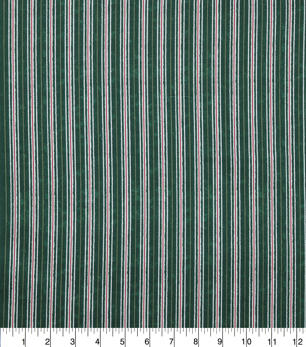 Christmas Cotton Fabric-Green, White & Red Multi Stripe