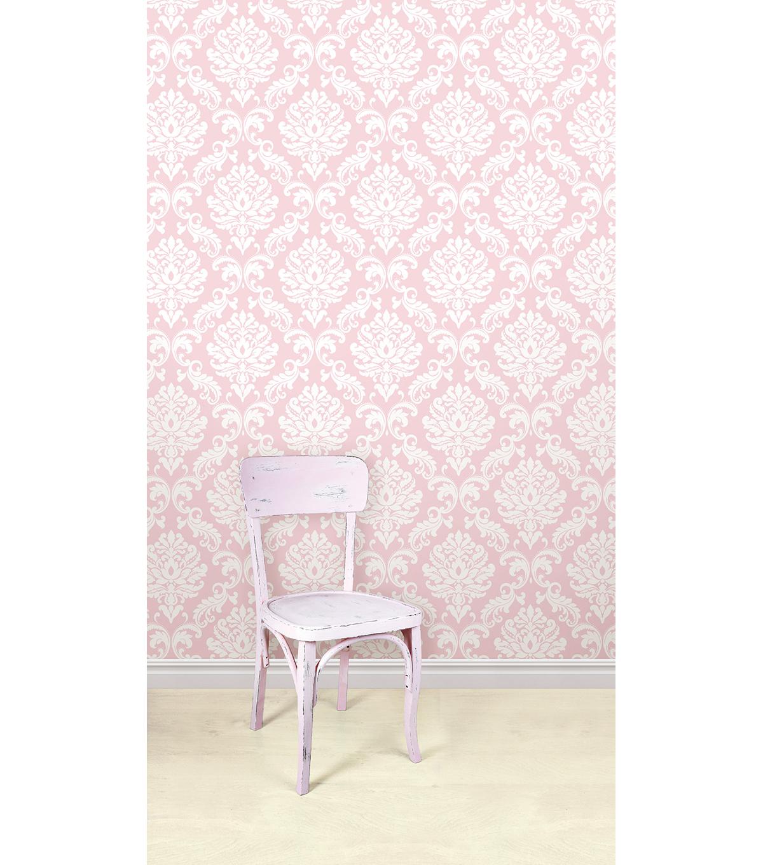 Wallpopsnuwallpaper Pink Ariel Damask L And Stick Wallpaper