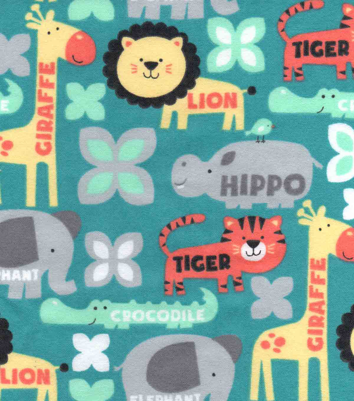Snuggle Flannel Fabric 42\u0022-Zoo Animals With Words