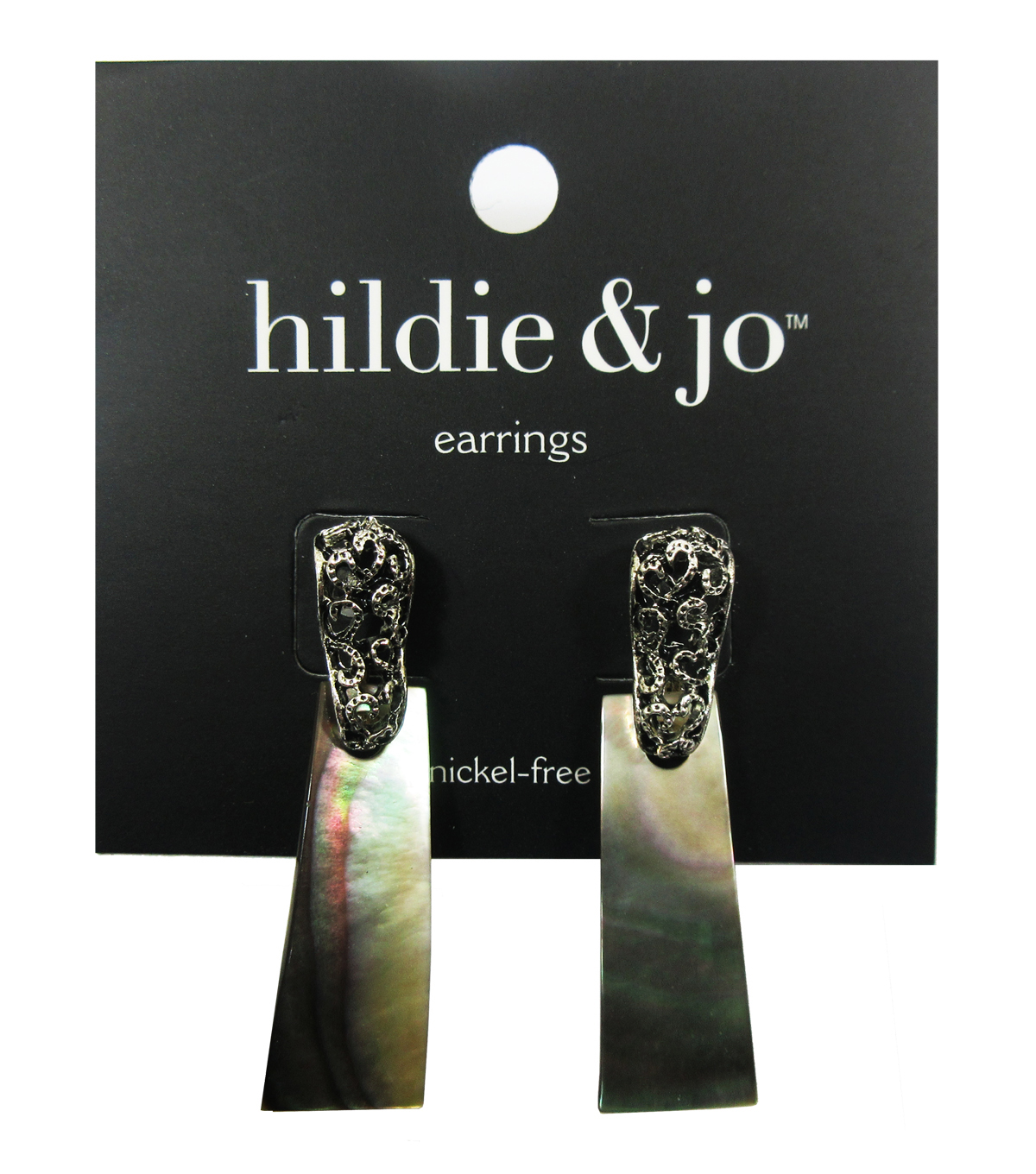 hildie & jo Antique Silver & Shell Post Earrings