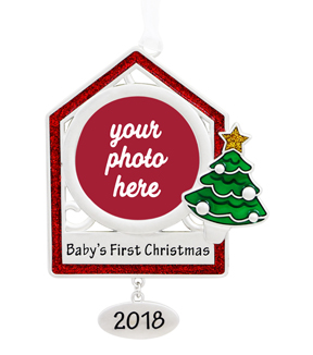 Maker\u0027s Holiday Christmas Photo Frame Ornament-Baby\u0027s First Christmas