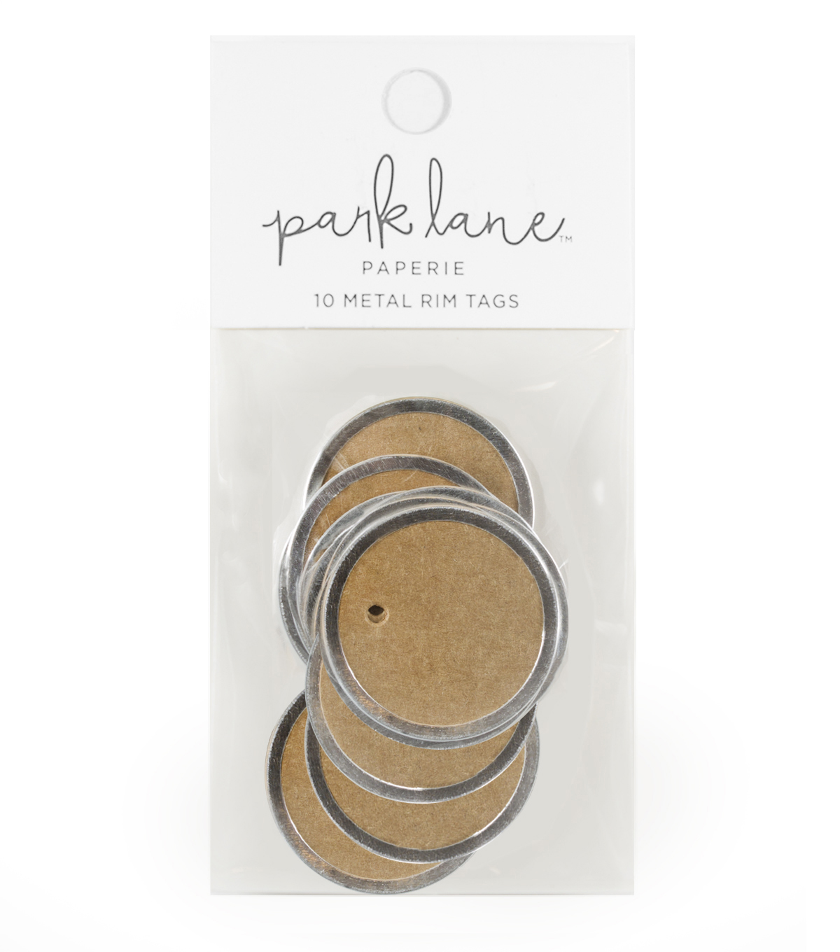 Park Lane Paperie 10 pk Metal Rim Tags-Silver & Kraft