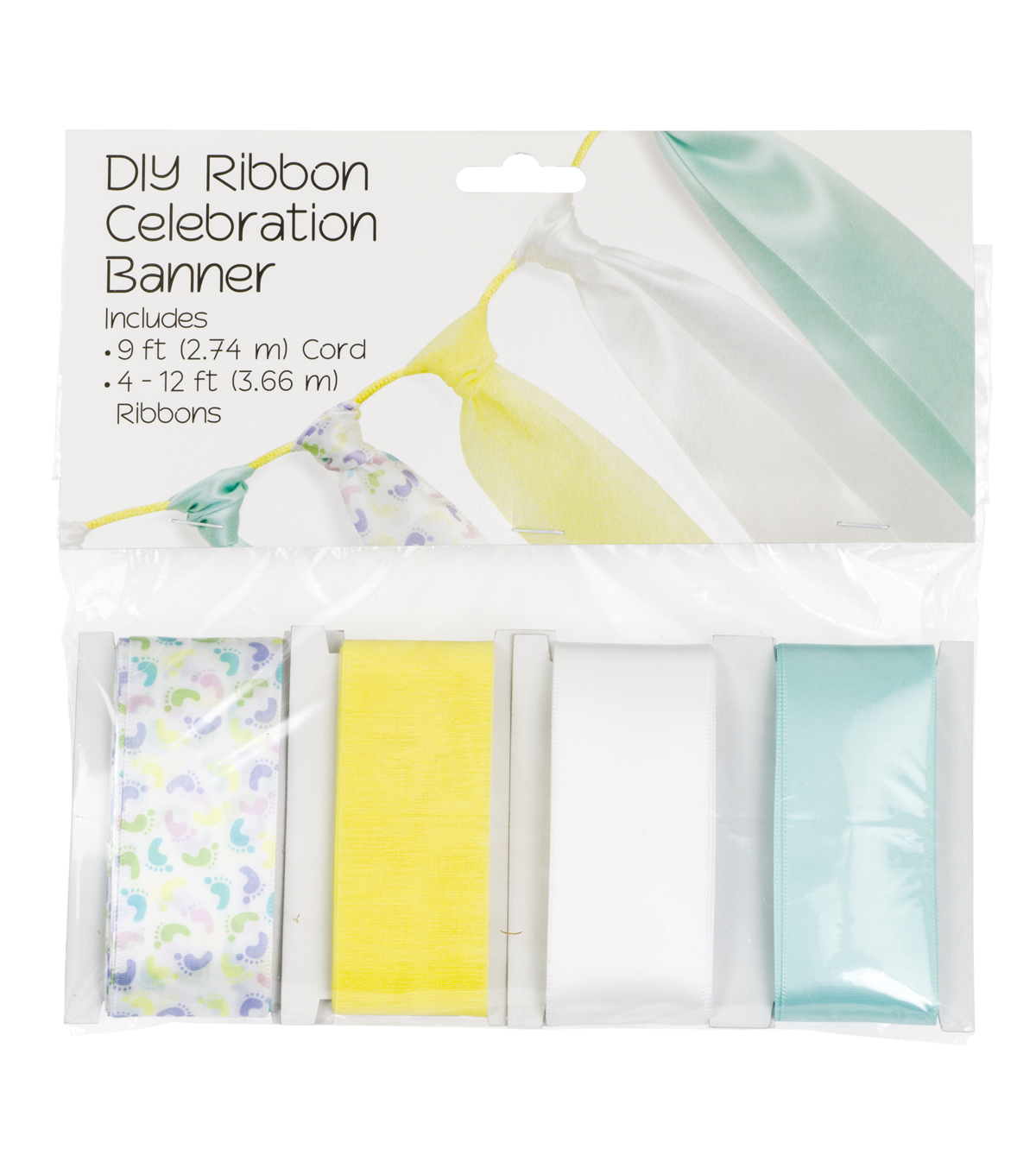 Offray DIY Ribbon Celebration Banner Kit-Yellow & Green Baby