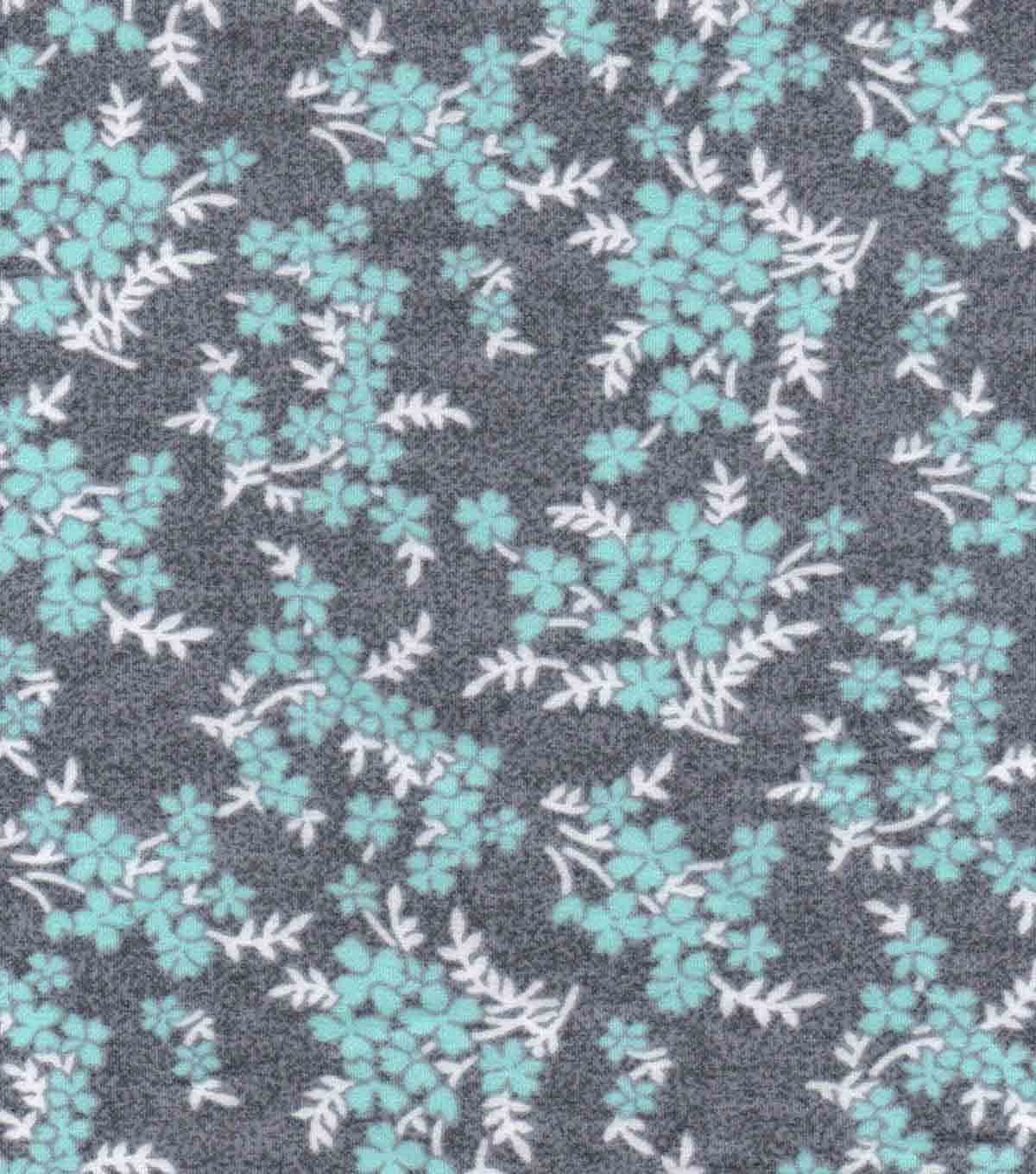 Luxe Flannel Fabric -Mint Vines Gray Heather