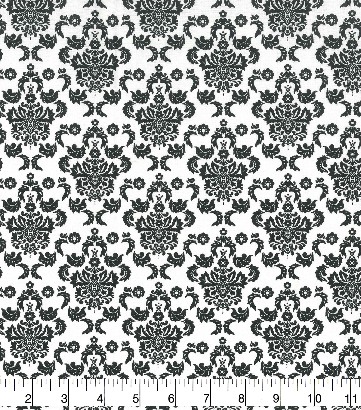 Keepsake Calico Cotton Fabric 43\u0022-Black Damask On White