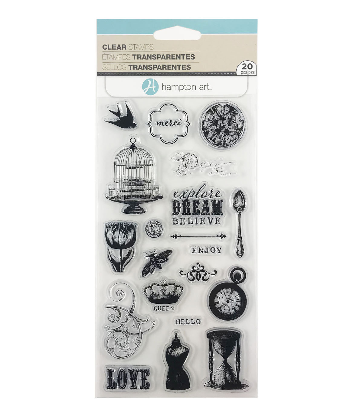Hampton Art 20 pk Clear Stamps-Vintage Icons