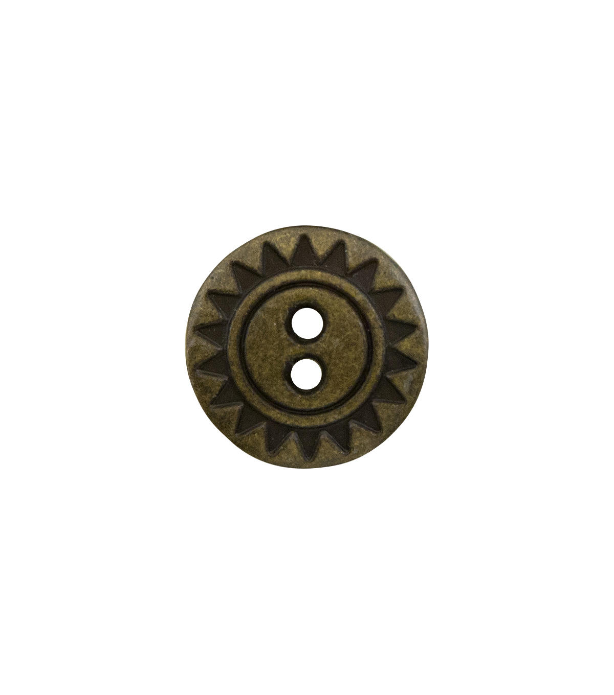 La Mode 3 pk 0.63\u0027\u0027 Metal Round Buttons-Antique Gold Sunburst