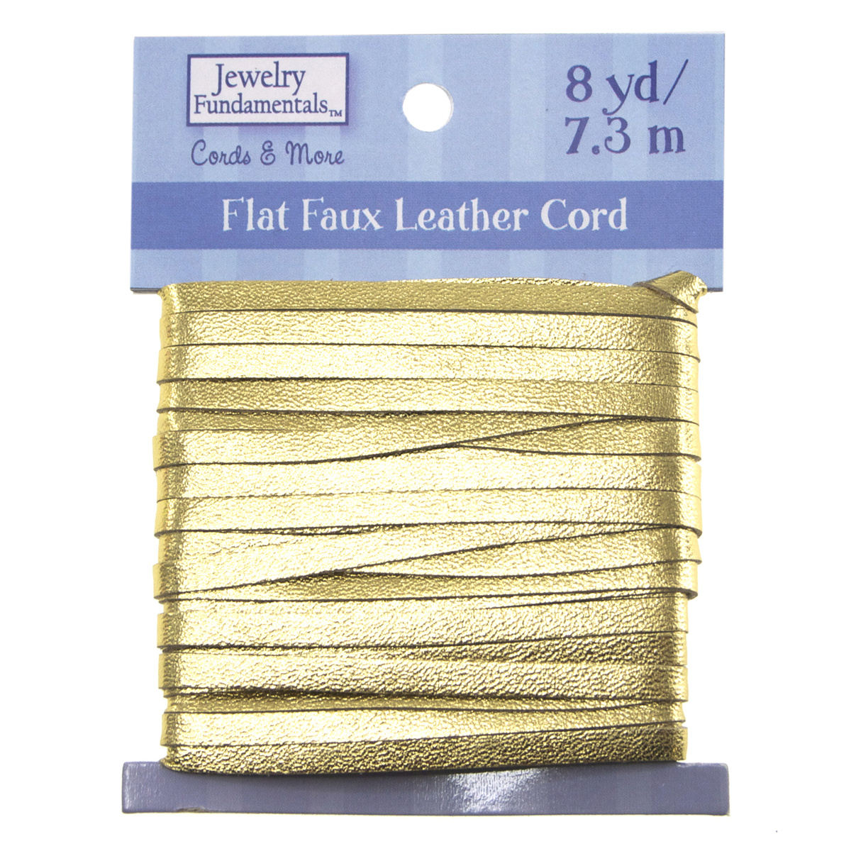Jewelry Fundamentals Cords&More Flat Faux Leather Cord-Yellow Gold Metallic
