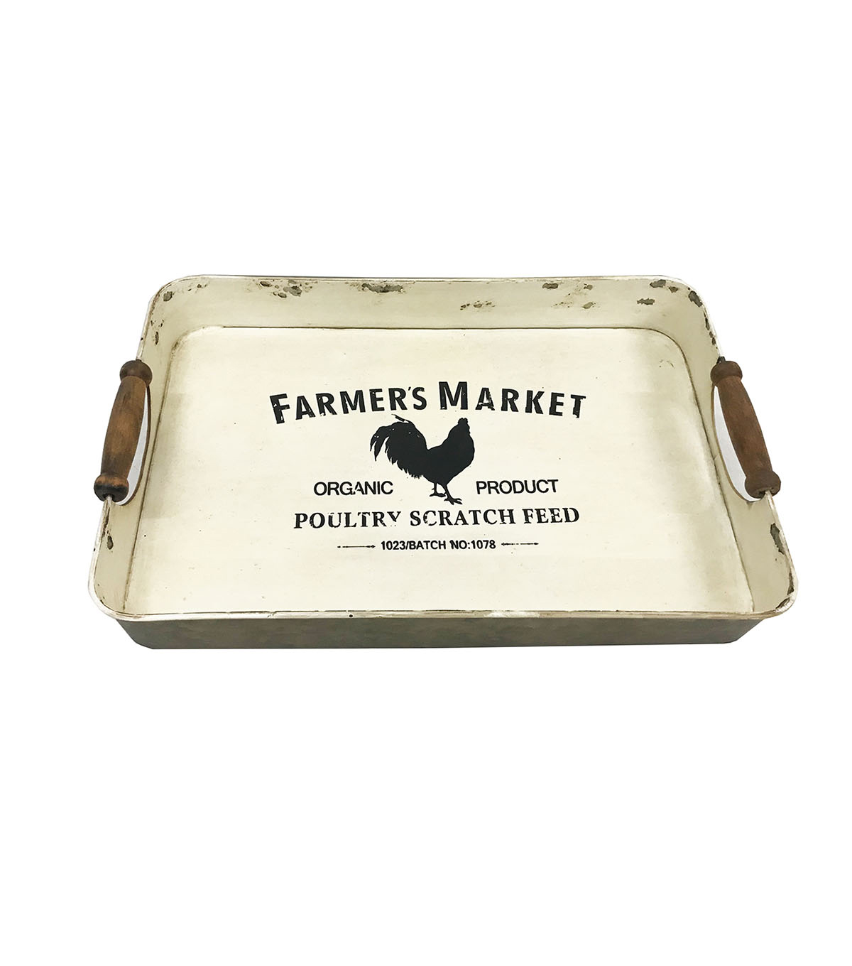 Bloom Room Square Metal Tray-Rooster