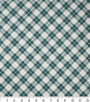Christmas Cotton Fabric-Green Gold Buffalo Plaid