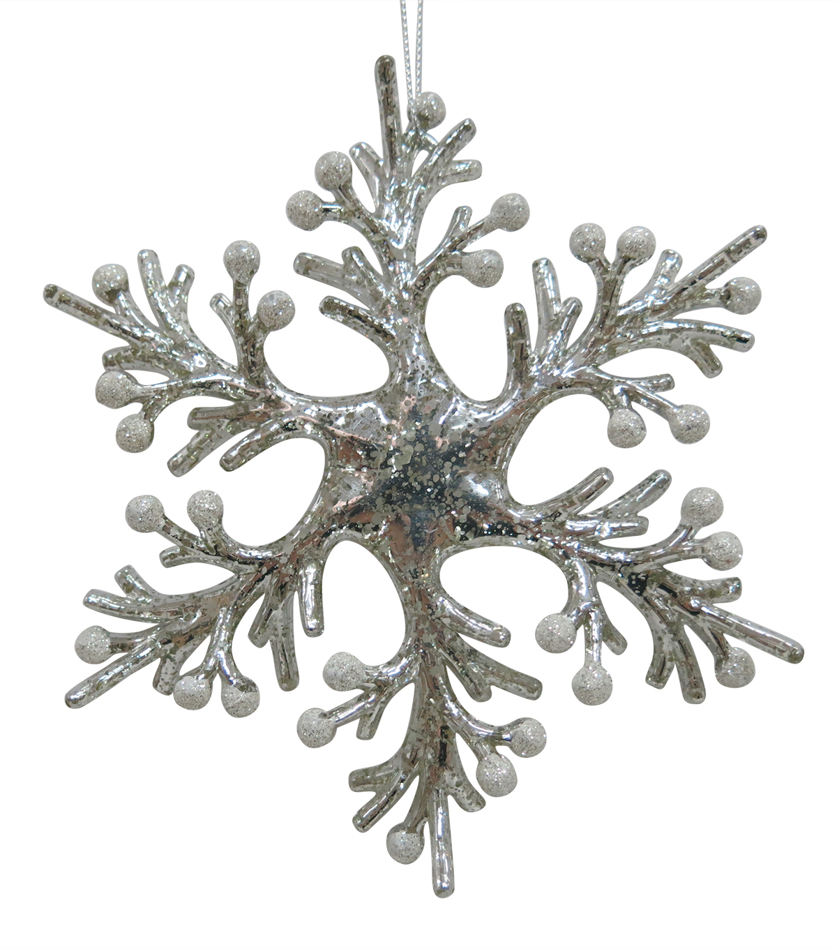 Maker\u0027s Holiday Christmas Arctic Frost Snowflake Ornament-Pearl
