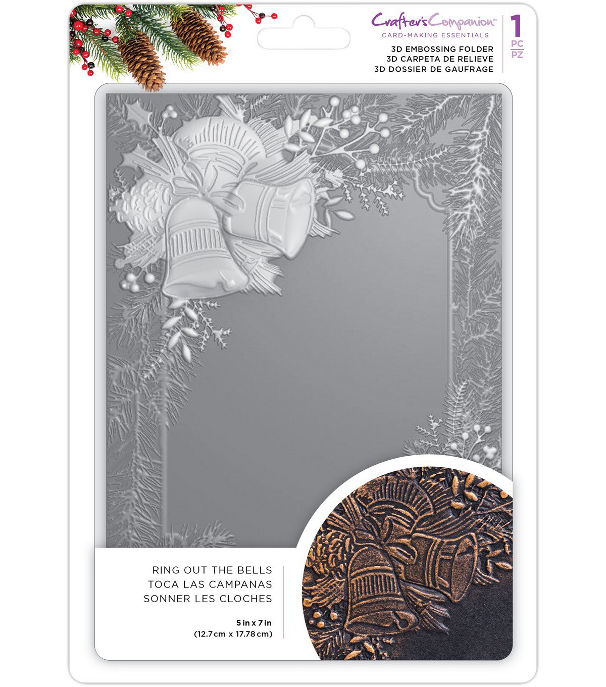 Crafter\u0027s Companion 3D Embossing Folder 5\u0022X7\u0022-Ring Out The Bells