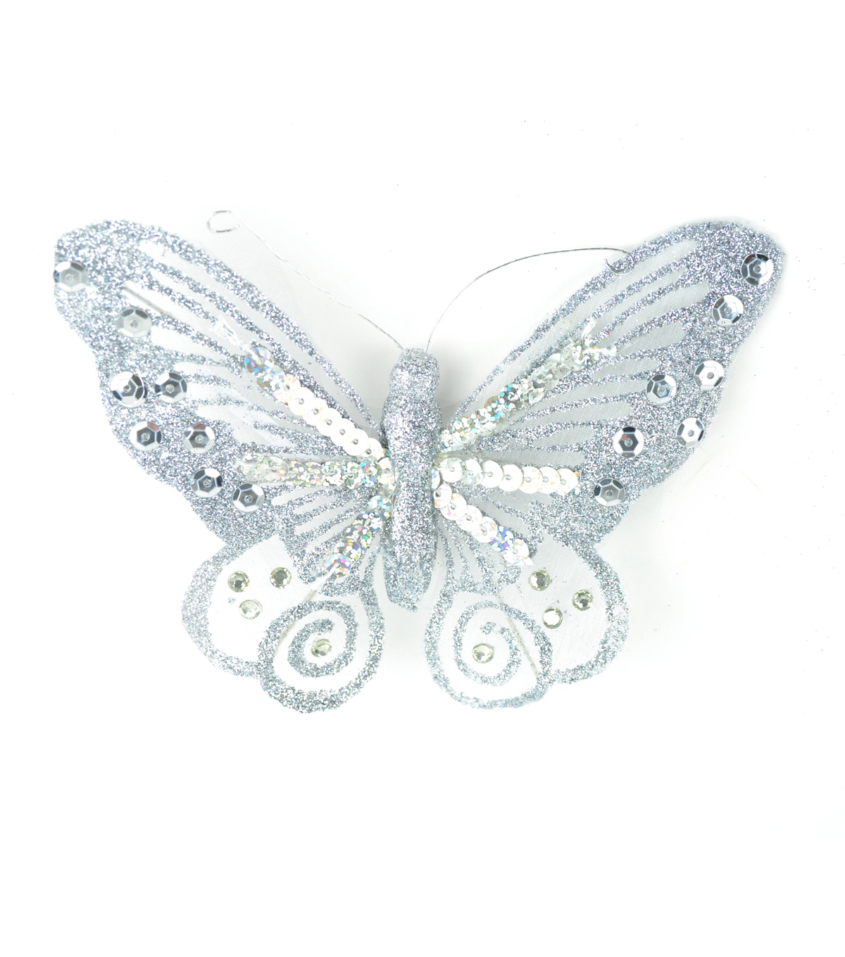Blooming Holiday Sequin Butterfly With Clip-Silver