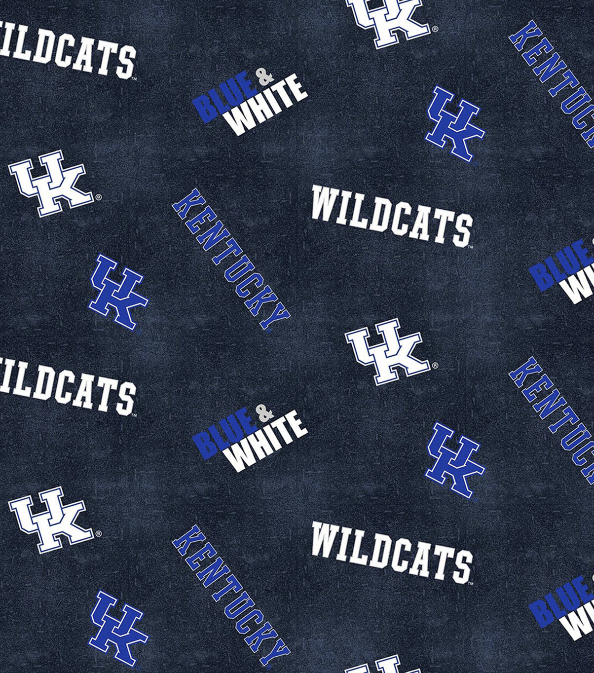 University of Kentucky Wildcats Cotton Fabric -Distressed Logo