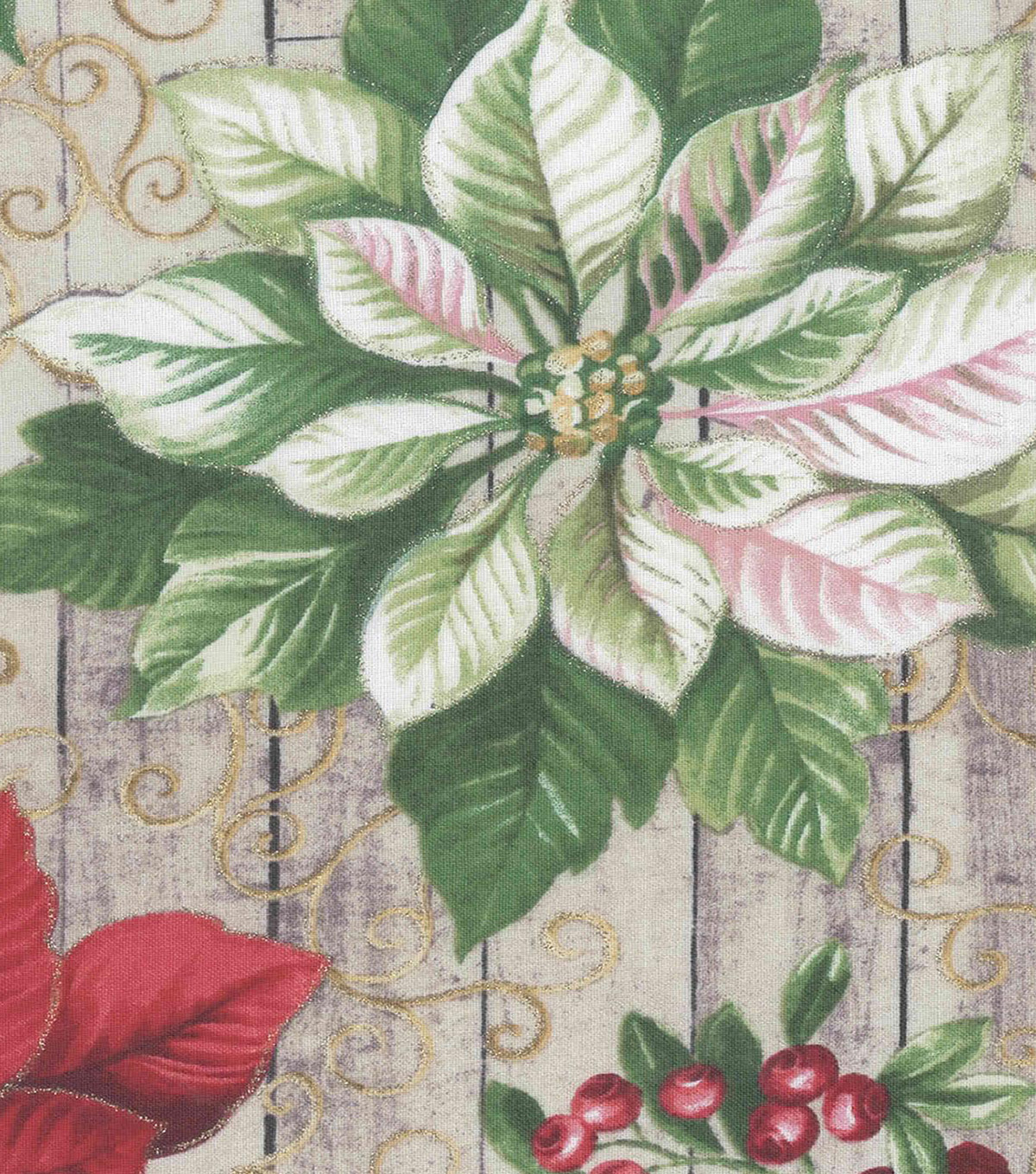 Christmas Cotton Fabric-Poinsettias & Holly with Glitter on Wood