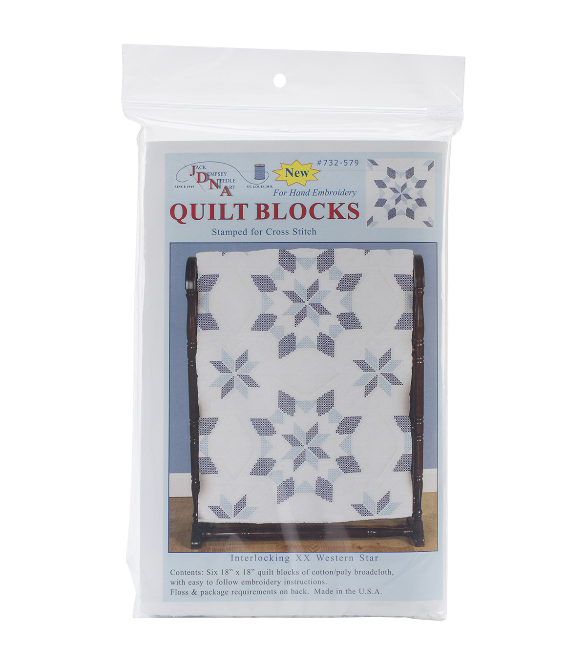 Jack Dempsey Interlocking XX Western Star Stamped Quilt Blocks